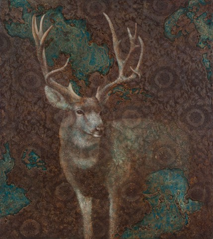 oil painting of a deer buck on lace background by susan hall