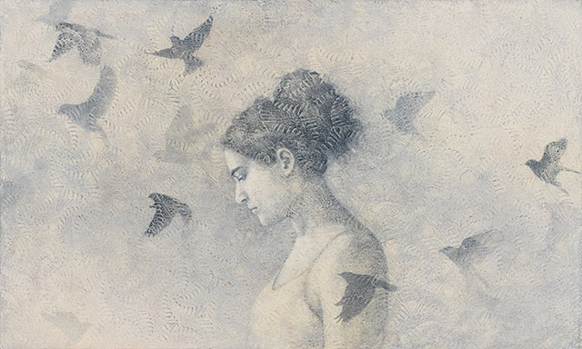 oil painting, lace, birds, birds in flight, texture, monochromatic, woman