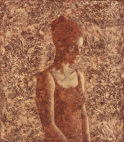 oil painting of female figure on toile lace by susan hall
