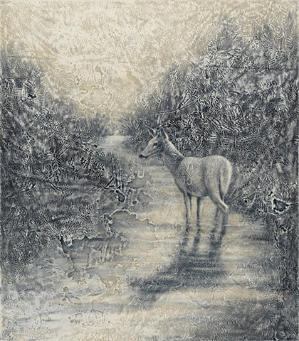 oil painting of a doe deer in water on toile lace crochet background by susan hall