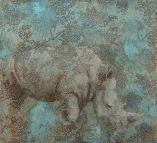 painting of a rhinoceros on a lace textured blue brown background by Susan Hall