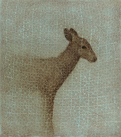 oil painting of a deer fawn on lace crochet background by susan hall