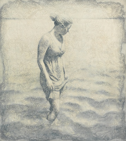 oil painting of a female figure in water on a lace background by susan hall