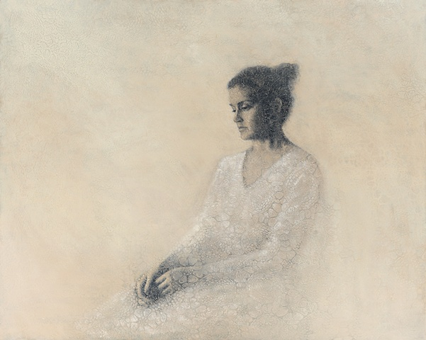 oil painting of a female figure on a crochet lace background by susan hall