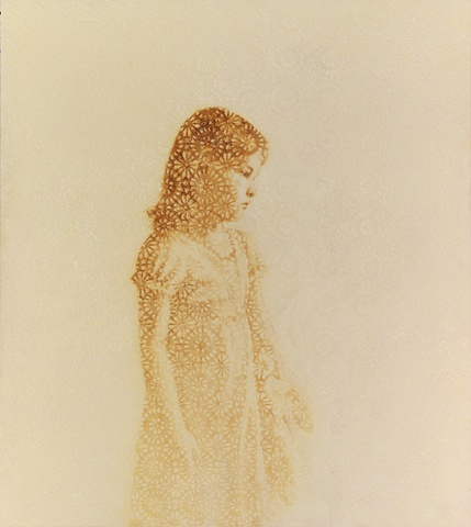 oil painting of a young girl on a crochet lace background by susan hall