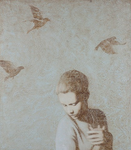 oil painting of woman with birds and lace by susan hall, oil painting, lace. birds, birds in flight, texture, monochromatic, woman