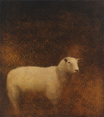 oil painting of lamb sheep on crochet lace textured brown background by susan hall