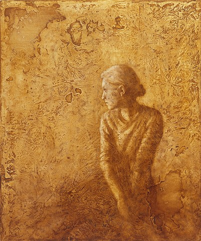 woman, oil painting, figurative, lace, texture, yellow, brown