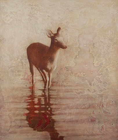oil painting of a deer on lace background pink red by susan hall