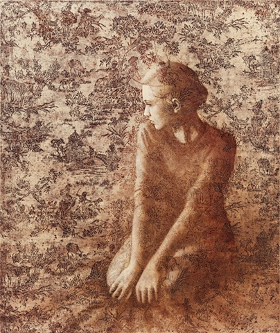 oil painting of a female figure on a toile lace background by susan hall