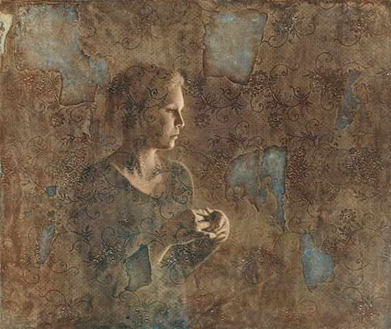 oil painting by susan hall, lace, female figure, brown, blue, surface, texture