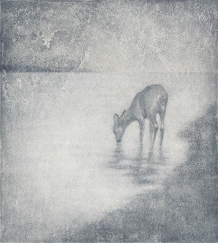 oil painting of deer on lace grey blue by susan hall