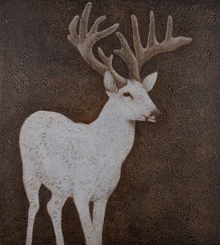 oil painting of a deer buck on lace crochet background brown by susan hall