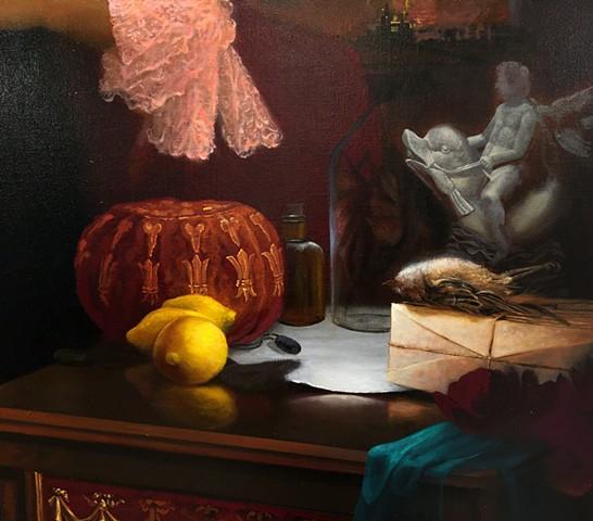 """The Royal Splitting: A Destructive Ballad of Dysfunctional Love"", detail #3 (unopened love letters, dead sparrow, velvet gambling purse with fleur-de-lis, lemons) work in progress"