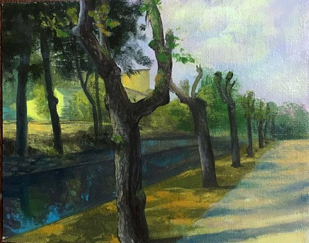 """""""Pollarded Trees along the rive l'Ourcq"""", painted en plein air in La Ferté-Milon, France"""