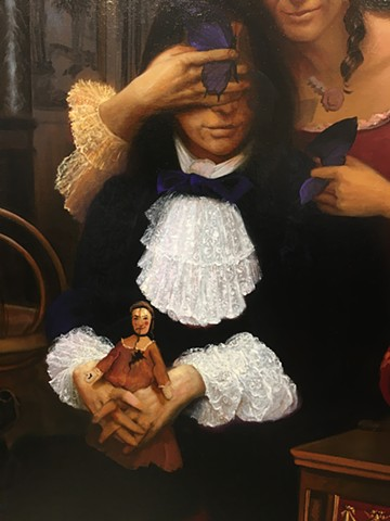 """""""The Royal Splitting: A Destructive Ballad of Dysfunctional Love"""", detail #1, (Louis XIV is blinded by Madame de Montespan who pulls apart a symbol of transformation while he tries to hold together a two-faced ragged doll), work in progress"""