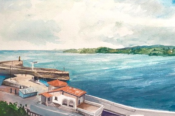 """View of Bay of Biscay from Calle dela Cordeleria, Comillas (Cantabria), Spain"". painted en plein air, 2019"