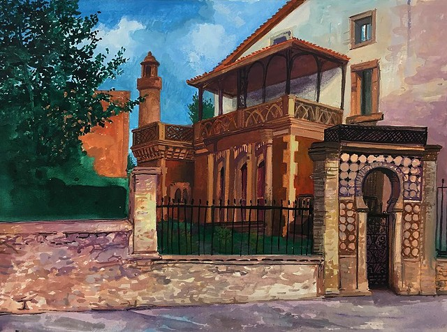 """House along the Calle del Marques de Comillas, Comillas (Cantabria), Spain"". Painted en plein air"