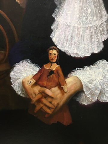 """""""The Royal Splitting: A Destructive Ballad of Dysfunctional Love"""", detail #2, (detail of the two-faced ragged doll held together by Louis), work in progress"""