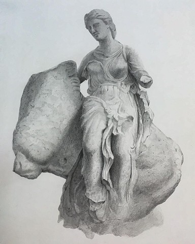 """Study of 'The Rape of Europa' drawn on location National Archaeological Museum, Athens, Greece"