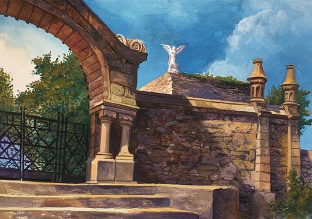 """""""El Cementerio gótico de Comillas (Cantabria), Spain"""", painted en plein air"""