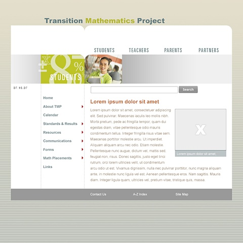Transition Math Website (Template)