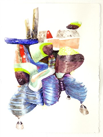 abstract anthropomorphic paintings in watercolor and gouache on paper