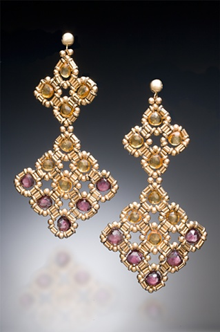 Citrine and Garnet Chandelier Earrings