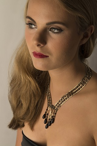 Model Wearing Wedding Necklace