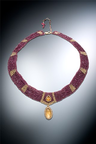 garnet and citrine collar