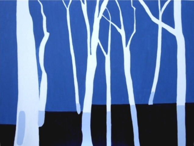 Painting of a birch tree woods