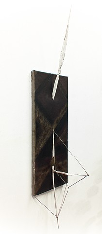 JR Larson, bone, large,  painting, sculpture, bow, arrow, black, minerals, pine tar, art, artist, tool, artifact