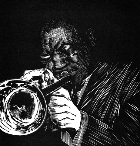 A relief engraving of jazz musician Clifford Brown trumpet woodcut printmaking print
