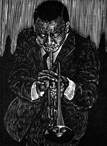 lee morgan blue note jazz musician trumpet woodcut edition relief engraving