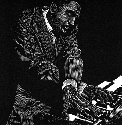 jimmy smith jazz organ musician printmaking engraving woodcut print