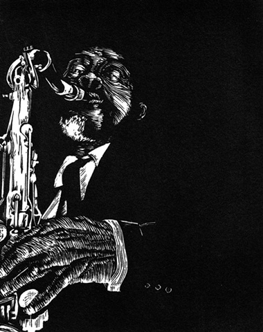 A relief engraving of jazz musician Albert Ayler saxaphone freejazz editio woodcut