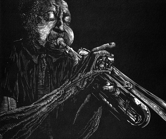 A relief engraving of jazz musician Blue Mitchell bluenote woodcut edition trumpet