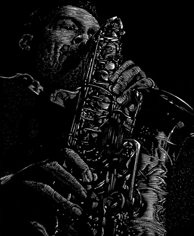 jackie mclean saxophone blue note jazz musician relief engraving woodcut print on paper