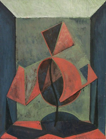 Red Cubist Flower Person