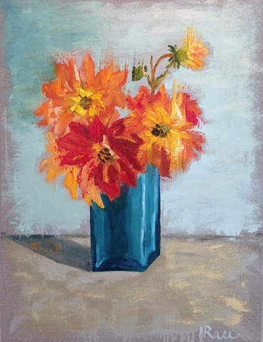 Flowers, dahlias, palette  knife