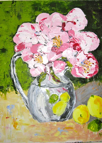 COLORFUL PEONIES IN VASE WITH LEMONS
