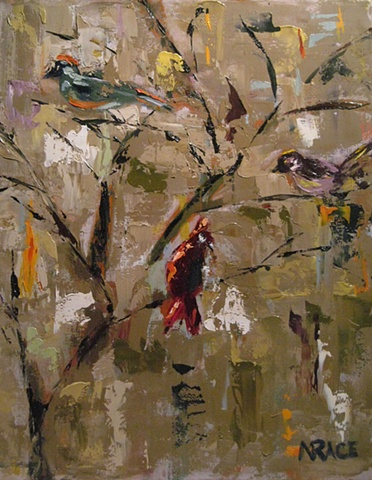 THREE BIRDS IN TREE