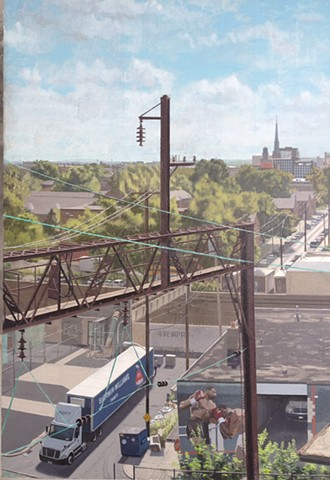 East on Green St, Overlooking the Reading Viaduct - Detail