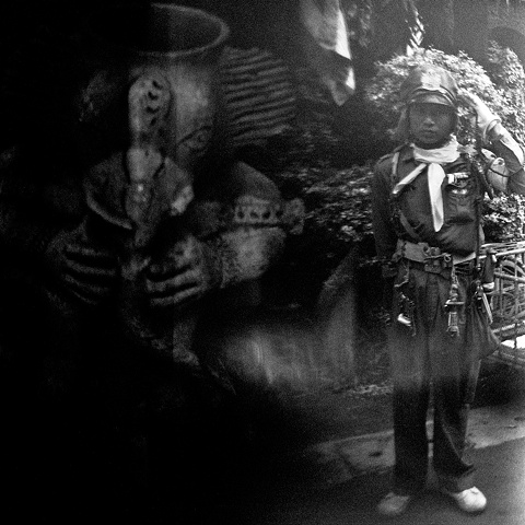 patricia houghton clarke, holga, black and white, photography, southeast asia, thailand, soldier, statue,