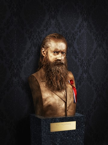 Work with Studio Isidor for Plot magazine.  Cover photo of Egil Hegerberg as a bronze statue.