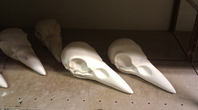 Porcelain raven sculls for an exhibition at Louisiana Denmark.  Size: 30x13 cm