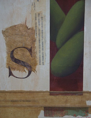 mixed media, collage, found objects, paper, pastel,