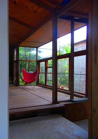 Sunroom and Red chair - during construction