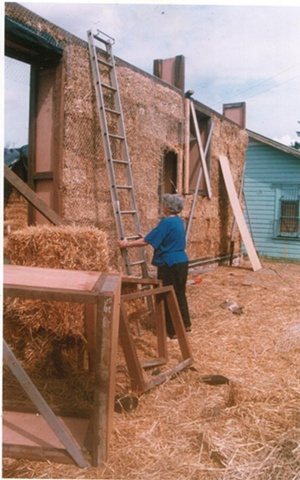 Community involvement in raising straw bale walls