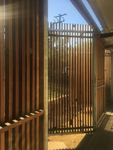 spotted gum slatted door